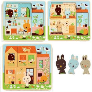 Djeco houten puzzel 3 lagen - Konijnenhuis