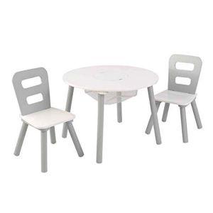 Kidkraft Houten tafel met 2 stoeltjes - grijs/wit