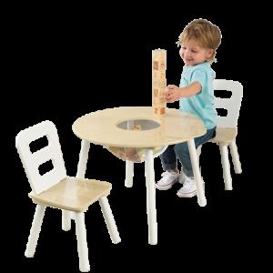 Kidkraft Houten tafel met 2 stoeltjes - naturel