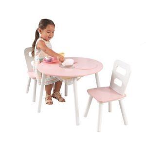 Kidkraft Houten tafel met 2 stoeltjes - roze