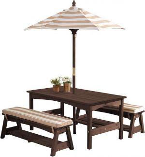 Kidkraft houten tuinset met parasol - espresso