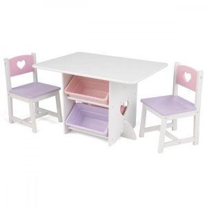 Kidkraft Houten tafel met 2 stoeltjes - Hartjes